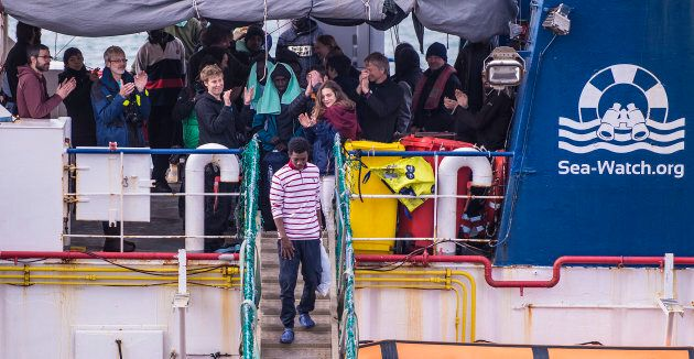 CATANIA, ITALY - JANUARY 31: The 47 migrants aboard the ship Sea Watch, which arrived today at the port...