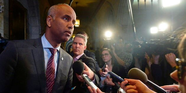 Immigration Minister Ahmed Hussen speaks with media before question period in Ottawa, Nov. 29,