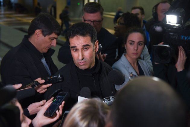 Ahmed Cheddadi, who was in the mosque during the Quebec mosque attack, talks to the press on