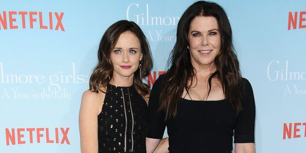 Actresses Alexis Bledel and Lauren Graham attend the premiere of 'Gilmore Girls: A Year in the Life'...
