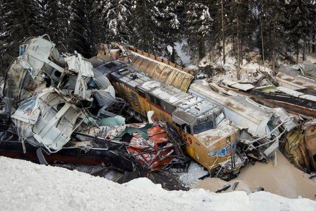 A train derailment is shown near Field, B.C. on