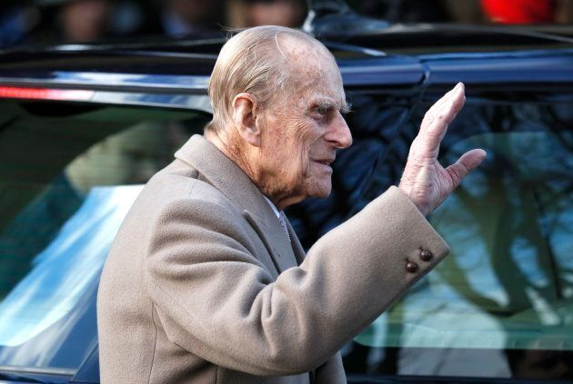 Prince Philip leaves a Christmas day church service in Sandringham, England on Dec. 25, 2016.