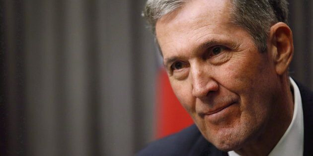 Manitoba Premier Brian Pallister speaks to media after the reading of the throne speech at the Manitoba...