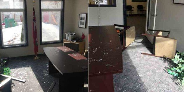 Ontario NDP MPP shared photos of her constituency office in Oshawa on Feb. 10 after it was damaged by...