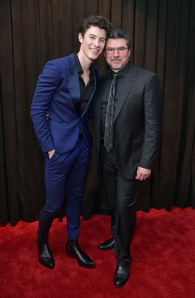 Shawn Mendes and his dad Manuel at the 61st Annual Grammys on Sunday