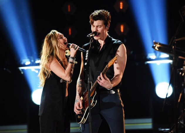 Miley Cyrus and Shawn Mendes at the 61st Annual Grammy Awards on