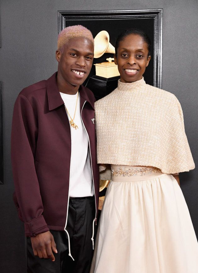 Singer-songwriter Daniel Caesar and his mother Hollace Simmonds attends the 61st Annual GRAMMY Awards at Staples Center on February 10, 2019 in Los Angeles, California.