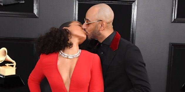 Grammys host Alicia Keys and her husband Swizz Beatz arrive at the ceremony on Sunday