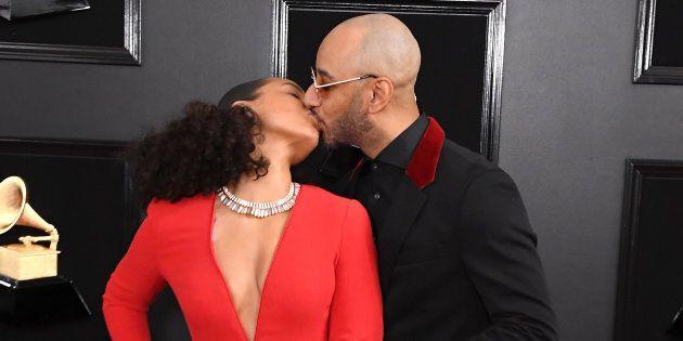 Grammys host Alicia Keys and her husband Swizz Beatz arrive at the ceremony on Sunday night.