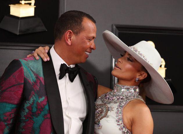 Alex Rodriguez and Jennifer Lopez arrive at the Grammy awards on Sunday night.