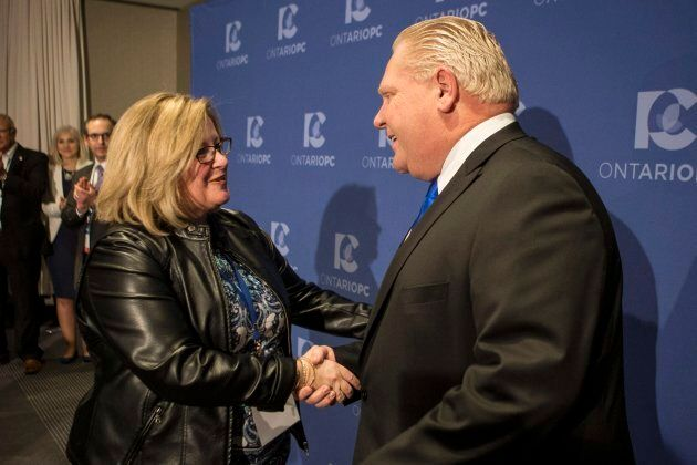 Doug Ford is congratulated by Lisa Thompson, then-chair of the PC Ontario caucus, after Ford was named leader of the Ontario Progressive Conservatives in Markham, Ont. on March 10, 2018.