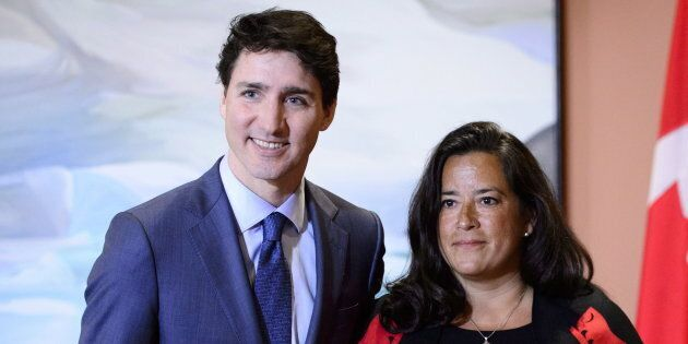 Prime Minister Justin Trudeau and Veterans Affairs Minister Jodie Wilson-Raybould attend a swearing in...