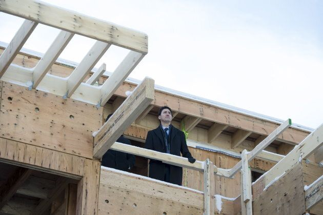 Prime Minister Justin Trudeau tours the Conrad rental housing development in Vancouver on Feb 11, 2019.