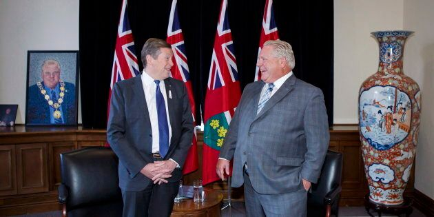 Toronto Mayor John Tory and Ontario Premier Doug Ford stand for a photo opp in Ford's Queen's Park office...