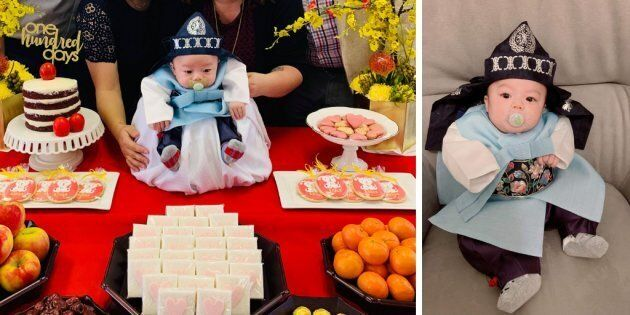 Three-month-old Elliot Noah Ye went viral after his aunt posted pictures from his Baek-il celebration...