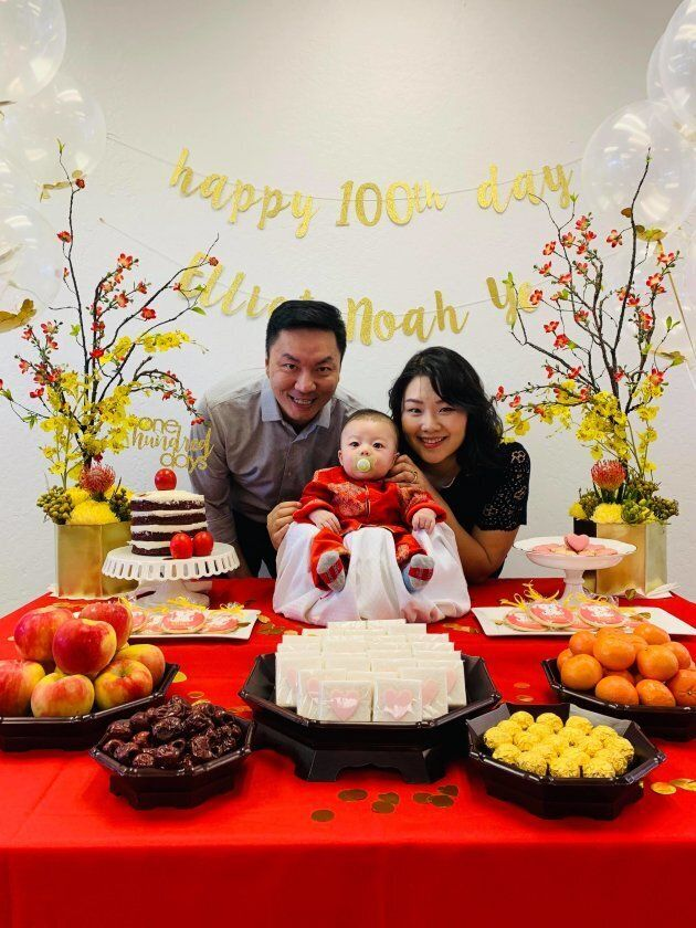 Elliot's 100-day celebration blended Chinese and Korean traditions, as homage to both sides of his family.