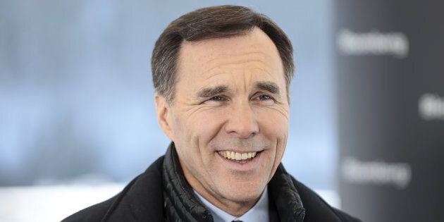 Finance Minister Bill Morneau is interviewed on the closing day of the World Economic Forum in Davos,...