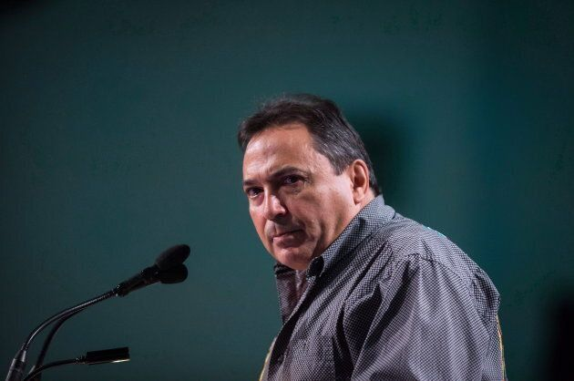 Assembly of First Nations National Chief Perry Bellegarde pauses while speaking during the AFN annual...