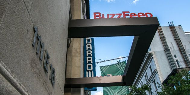 The BuzzFeed sign at the company headquarters is pictured in New York, June 22,