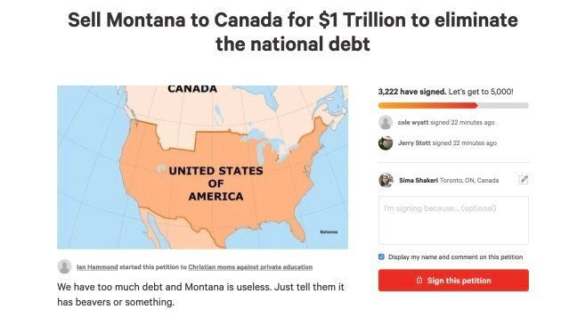 A screenshot of a change.org petition asking to sell Montana to
