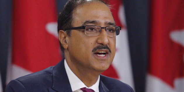 Natural Resources Minister Amarjeet Sohi speaks at a press conference in Ottawa on April 19,