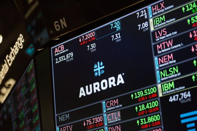 A monitor displays Aurora Cannabis Inc. signage on the floor of the New York Stock Exchange in New York,...
