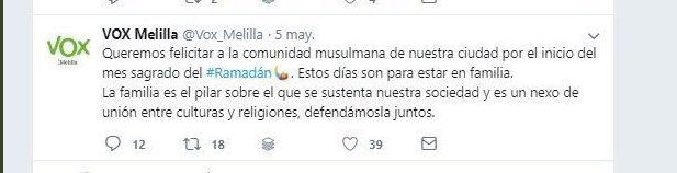 À Melilla, le parti espagnol d'extrême droite Vox souhaite un bon ramadan aux