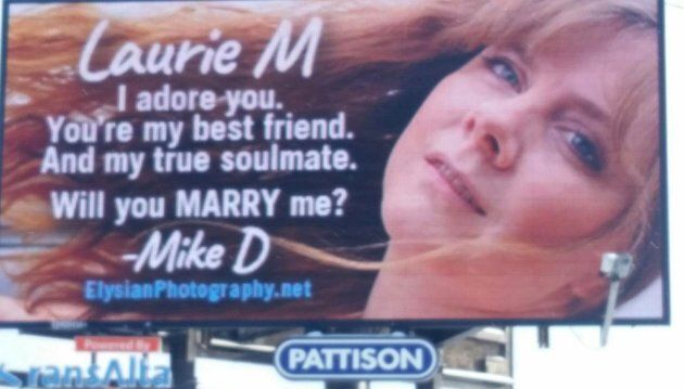 A billboard in Edmonton with a marriage proposal for Laurie Moring is shown in a handout