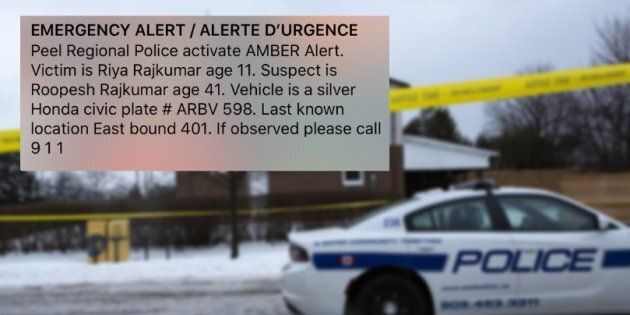 Police tape is seen outside of a house where Riya Rajkumar, 11, was found dead in Brampton, Ont. on Feb. 15, 2019 after an Amber Alert was issued.