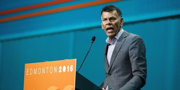 Canadian Labour Congress president Hassan Yussuff gives a speech during the NDP Federal Convention in...