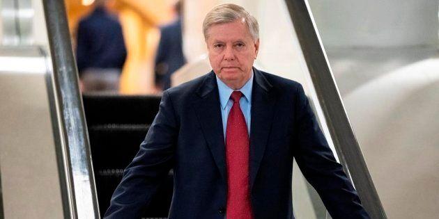 Senator Lindsey Graham leaves the Senate on Capitol Hill in Washington on Feb. 14,