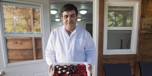 Assam Hadhad, a Syrian refugee, displays a tray of chocolates at Peace by Chocolate in Antigonish, N.S....