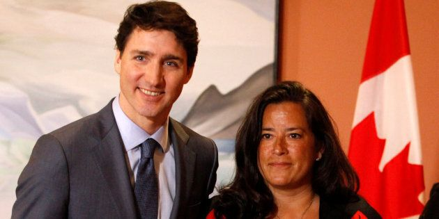 Former Veterans Affairs Minister Jody Wilson-Raybould with Prime Minister Justin Trudeau on Jan. 14,