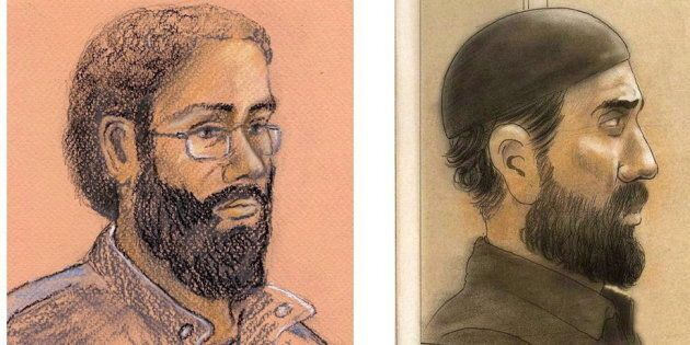Artist sketches of Chiheb Esseghaier and Raed Jaser, two men found guilty of plotting to derail a Via...