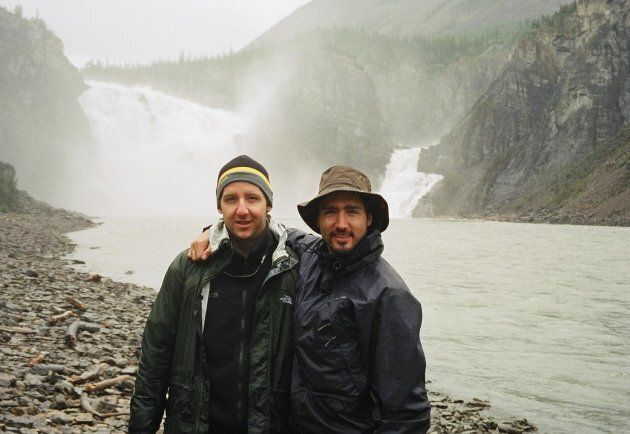 Gerald Butts and Justin Trudeau are photographed at Virginia Falls, Nahanni National Park Reserve in