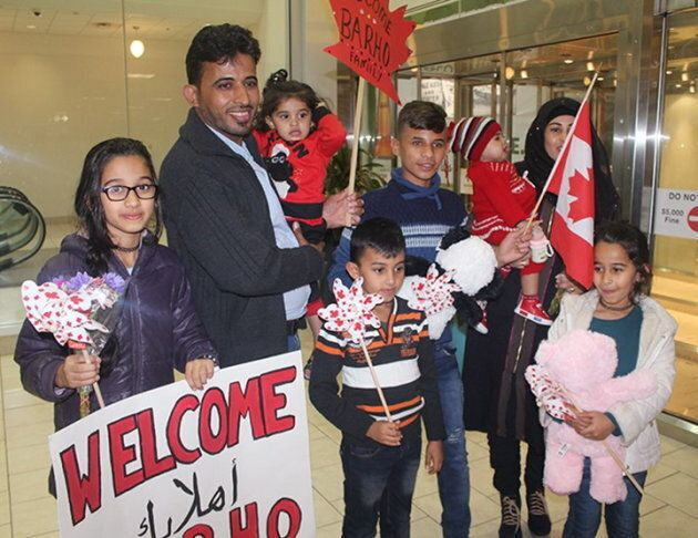 Members of the Barho family are shown upon arrival in Canada on Sept. 29 2017, at the Halifax airport...