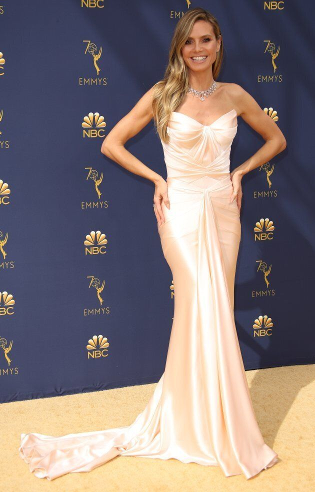 """Heidi Klum, who Karl Lagerfeld described as """"too heavy"""" to be a model, at the 70th Emmy Awards on Sept. 17, 2018."""