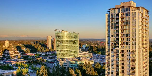 View from rooftop of highrise in Surrey,
