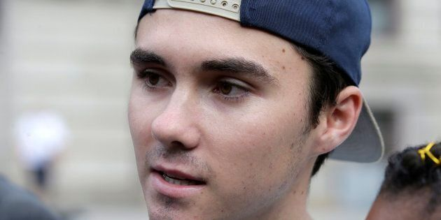 David Hogg speaks with reporters before a march in Worcester, Mass., U.S. on Aug. 23, 2018.