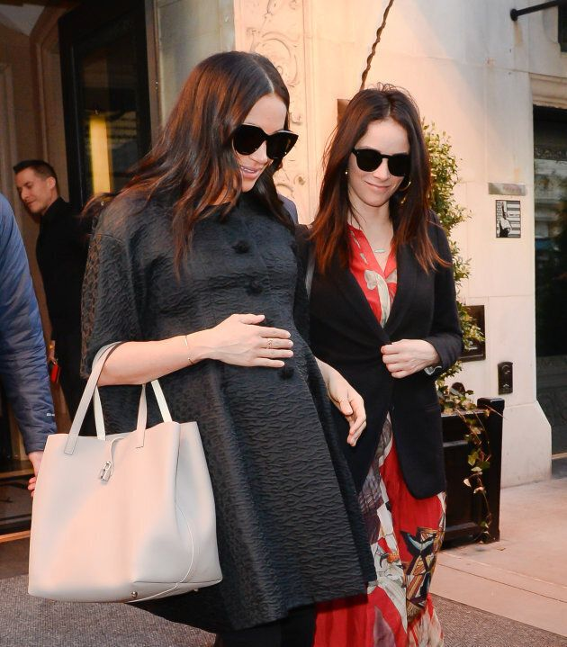 Meghan Markle and Abigail Spencer in New York City on Feb. 19, 2019.