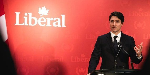 Prime Minister Justin Trudeau delivers remarks to Liberal supporters in Halifax on Feb. 20,