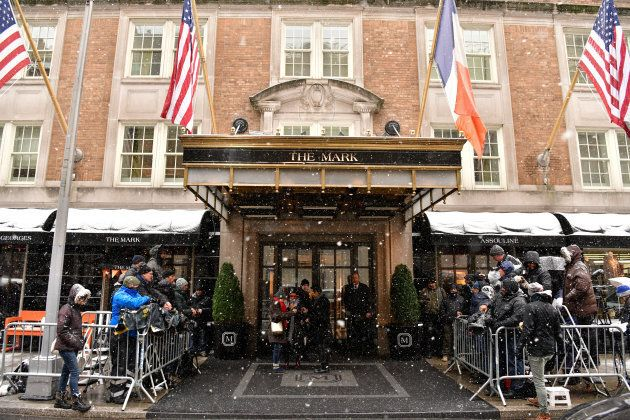 Photographers line up outside The Mark Hotel in New York City, where Meghan Markle's baby shower took place.
