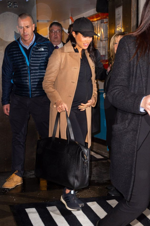 Meghan, Duchess of Sussex leaving The Mark Hotel on Feb. 20, 2019.