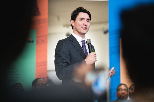 Prime Minister Justin Trudeau speaks during a media availability at the Black Cultural Centre For Nova...