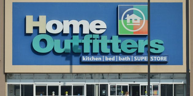 A view of Home Outfitters shop and logo in South Edmonton Common, a retail power centre located in