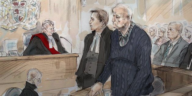 Justice John McMahon, top left to right, defence lawyer James Miglin, Bruce McArthur and lead investigator,...