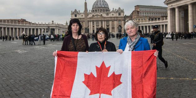 From left to right: Leona Huggins, Evelyn Korkmaz and Bernadette Howell travelled to the Vatican as part...