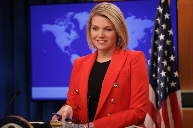 Heather Nauert speaks during a press conference in Washington on Nov. 15,