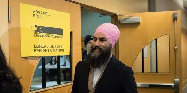 NDP Leader Jagmeet Singh leaves an advance poll after casting his ballot for the federal byelection in...