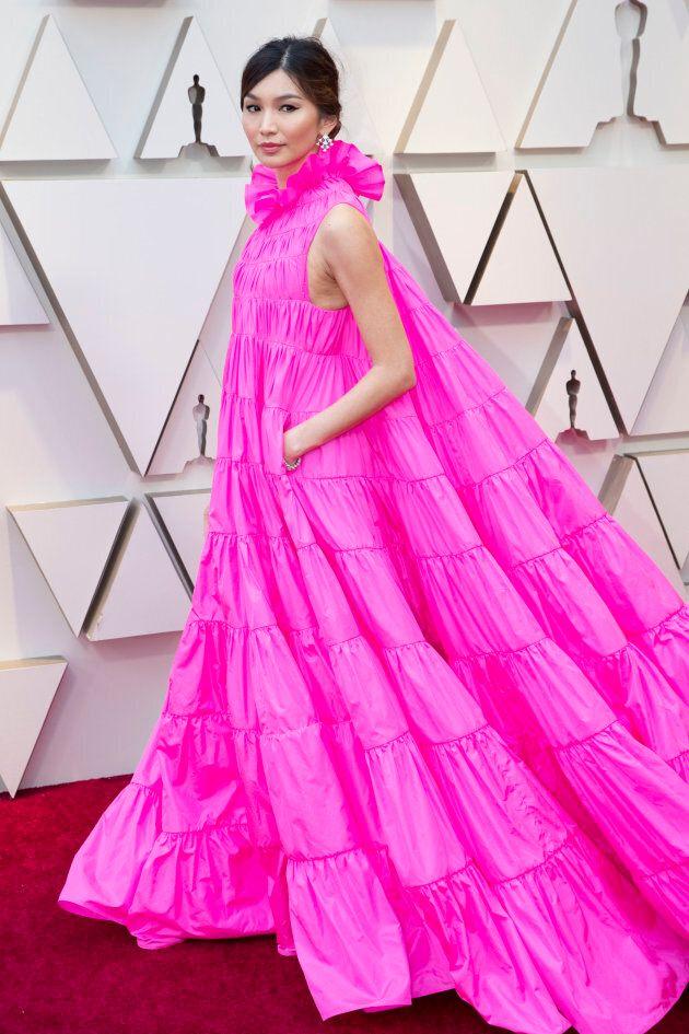 Gemma Chan at the Oscars on Sunday night. Oscars pink